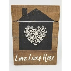 Love Lives Here Wooden Threaded Sign